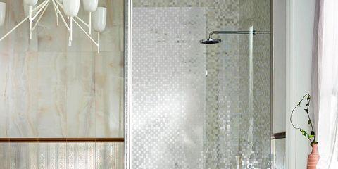 Interior design, Plumbing fixture, Room, Architecture, Property, Floor, Wall, Tile, Glass, Flooring,