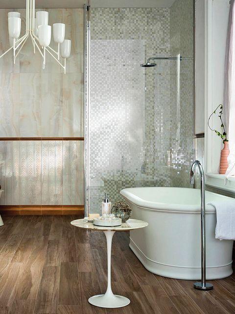 Room, Interior design, Architecture, Plumbing fixture, Floor, Property, Flooring, Tile, Glass, Wall,