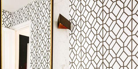 Tile, Wall, Room, Wallpaper, Property, Interior design, Floor, Brown, Pattern, Flooring,