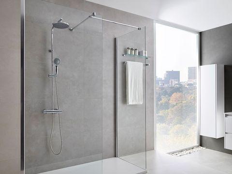 Glass, Property, Wall, Floor, Interior design, Room, Shower head, Fixture, Tile, Grey,