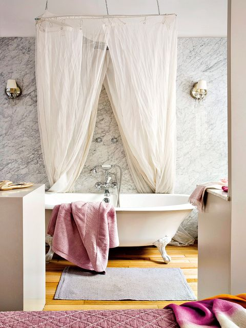 Curtain, Room, Pink, Interior design, Purple, Window treatment, Bathroom, Furniture, Canopy bed, Textile,