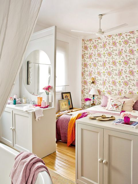 Furniture, Room, Bedroom, Interior design, Pink, Bed, Property, Curtain, Wall, Yellow,