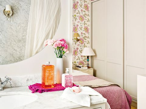Pink, Room, Bedroom, Furniture, Interior design, Curtain, Wall, Table, Textile, Material property,