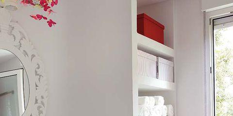 Room, Interior design, Red, Wall, White, Floor, Shelving, Interior design, Shelf, Home,