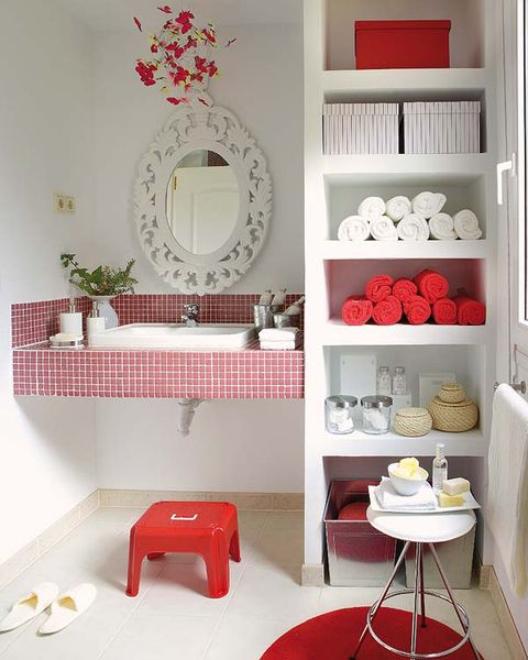 Interior design, Room, Red, Wall, White, Bathroom sink, Interior design, Plumbing fixture, Shelving, Dishware,