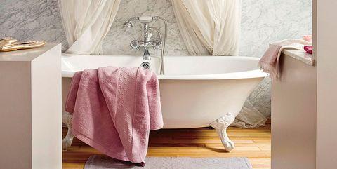 Plumbing fixture, Room, Interior design, Property, Purple, Floor, Wall, Tile, Interior design, Bathroom accessory,
