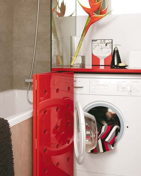 Washing machine, Red, Clothes dryer, Major appliance, Laundry room, Plumbing fixture, Home appliance, Plumbing, Laundry, Arch,