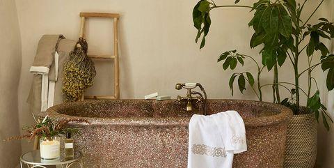 baño con bañera exenta y plantas