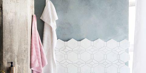 Room, Interior design, Textile, Wall, Linens, Purple, Floor, Towel, Fixture, Shower curtain,