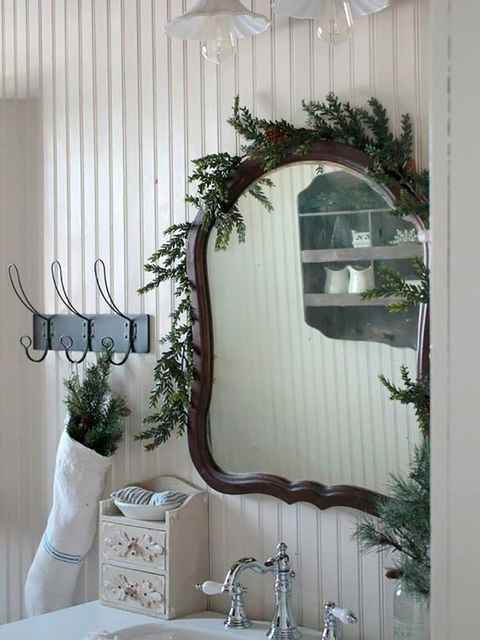 Mirror, Room, Twig, Branch, Curtain, Bathroom, Interior design, Tree, Plant, Architecture,