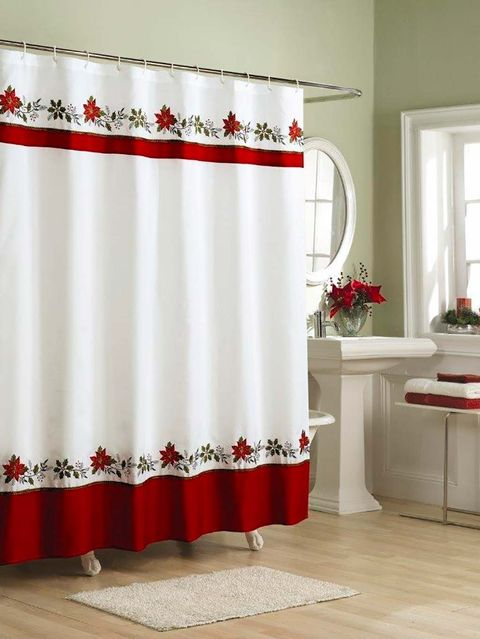 Curtain, Shower curtain, Window treatment, White, Interior design, Red, Textile, Bathroom accessory, Room, Interior design,