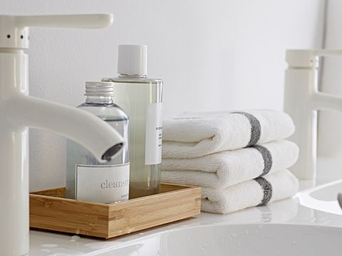 Product, Fluid, Still life photography, Science, Household supply, Plastic, Shelving, Silver, Towel, Cylinder,