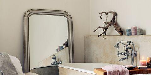 Room, Interior design, Textile, Floor, Linens, Interior design, Plumbing fixture, Grey, Bathroom accessory, Bathtub accessory,