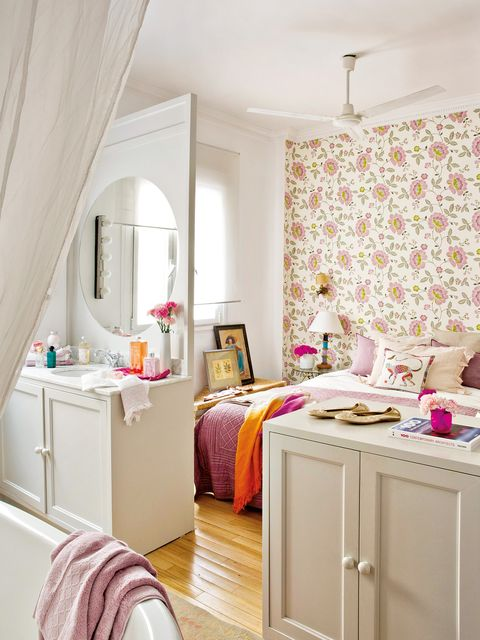 Furniture, Room, Bedroom, Interior design, Pink, Property, Bed, Curtain, Wall, Yellow,