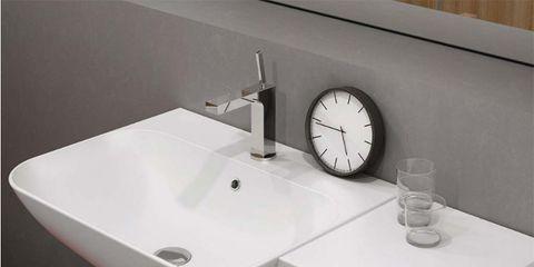 Sink, Bathroom sink, Plumbing fixture, Bathroom, Tap, Furniture, Room, Table, Material property, Interior design,