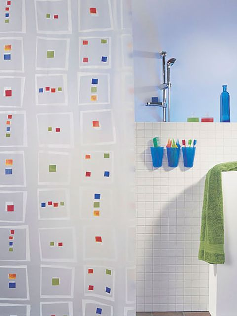 Blue, Product, Shower curtain, Textile, Wall, Azure, Aqua, Plumbing fixture, Tile, Bathroom accessory,
