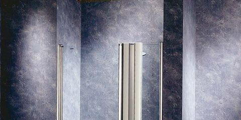 Wall, Floor, Flooring, Fixture, Grey, Rectangle, Composite material, Space, Silver, Building material,