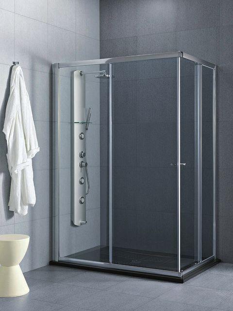 Floor, Glass, Fixture, Grey, Plumbing fixture, Household supply, Tile, Composite material, Towel, Aluminium,