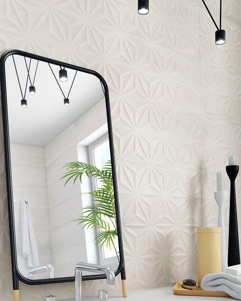 azulejos para el baño blanco con relieve