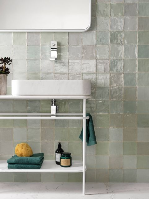 Tile, Shelf, Floor, Room, Wall, Flooring, Turquoise, Bathroom, Interior design, Furniture,