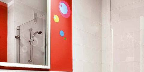Plumbing fixture, Blue, Room, Bathroom sink, Property, Architecture, Wall, Interior design, Tap, Sink,