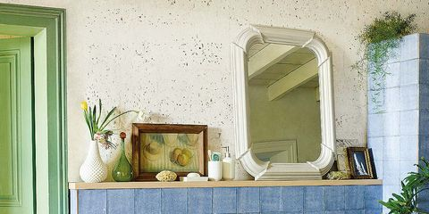 Green, Room, Interior design, Property, Wall, Plumbing fixture, Home, Mirror, Interior design, Tile,
