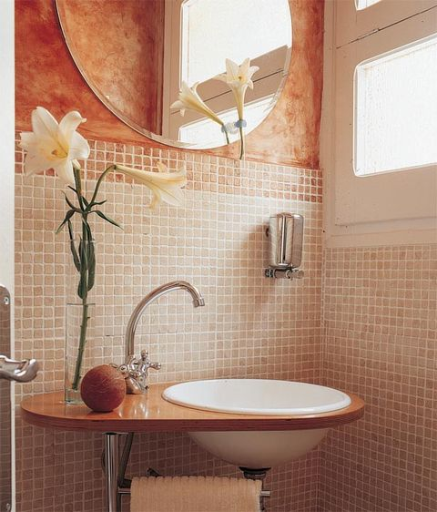 Plumbing fixture, Room, Property, Interior design, Architecture, Wall, Bathroom sink, Tile, Tap, Petal,