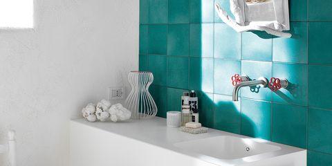 Room, Plumbing fixture, Wall, Tap, Turquoise, Sink, Aqua, Teal, Cup, Bathroom sink,