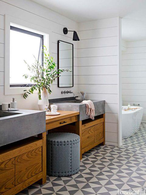 Room, Bathroom, Furniture, Tile, Interior design, Floor, Property, Sink, Countertop, Cabinetry,