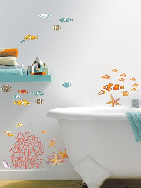 Blue, Product, Room, Plumbing fixture, Wall, Interior design, Aqua, Teal, Orange, Turquoise,