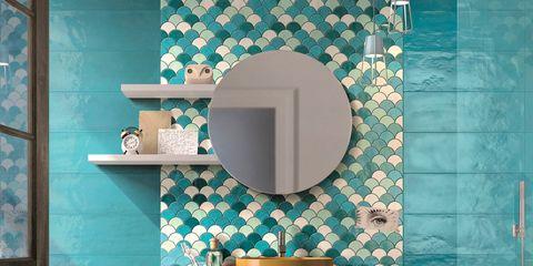 Turquoise, Aqua, Blue, Tile, Green, Teal, Turquoise, Wall, Room, Floor,