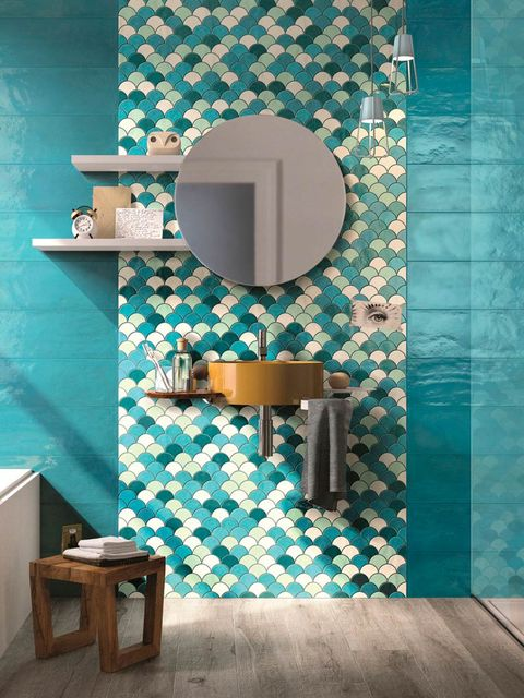 Wall, Teal, Turquoise, Aqua, Mirror, Interior design, Household supply, Bathroom sink, Plumbing fixture, Tile,
