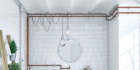 Flooring, Floor, Interior design, Wall, Flowerpot, Tile, Fixture, Interior design, Houseplant, Tile flooring,