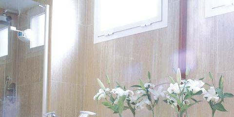 Wood, Room, Interior design, Wall, Plumbing fixture, Interior design, Glass, Linens, Petal, Towel,