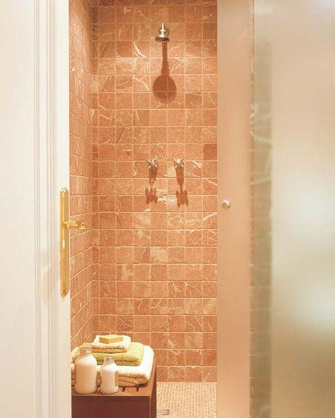 Brown, Wall, Room, Tile, Fixture, Plumbing fixture, Ceramic, Plumbing, Bathroom, Composite material,