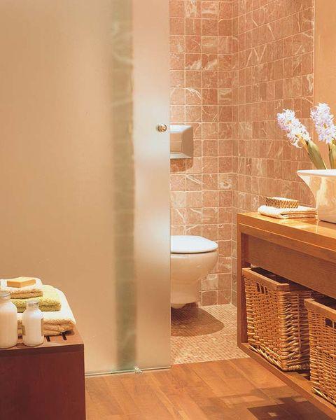 Plumbing fixture, Room, Architecture, Property, Interior design, Tile, Wall, Floor, Flooring, Purple,