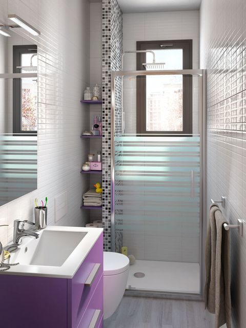 Plumbing fixture, Architecture, Interior design, Room, Property, Bathroom sink, Purple, Wall, Floor, Tile,