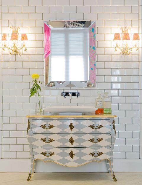 Room, Interior design, Wall, Drawer, Floor, Tile, Mirror, Rectangle, Cabinetry, Interior design,