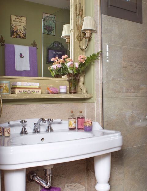 Room, Bathroom sink, Interior design, Wall, Purple, Plumbing fixture, Interior design, Tap, Bathroom accessory, Sink,