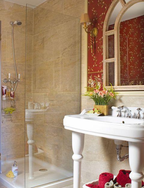 Plumbing fixture, Room, Interior design, Property, Bathroom sink, Wall, Architecture, Tile, Tap, Glass,