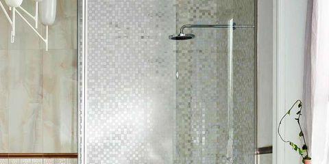 Room, Plumbing fixture, Interior design, Floor, Architecture, Property, Flooring, Wall, Glass, Tile,