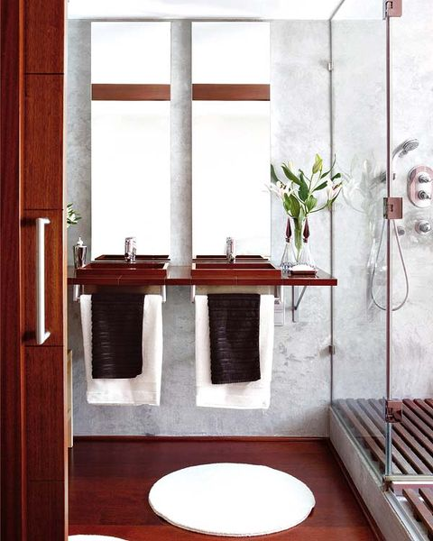 Wood, Room, Wall, Interior design, Hardwood, Fixture, Wood stain, Bathroom sink, Composite material, Stairs,