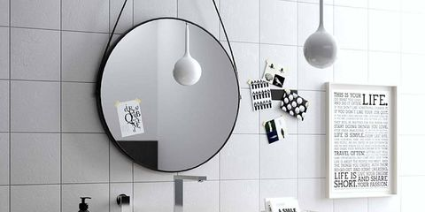 Room, Wall, White, Interior design, Light fixture, Grey, Mirror, Material property, Circle, Black-and-white,