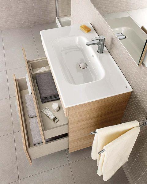 mueble con lavabo, de la colección debba, de roca