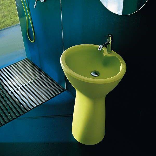 Lavabo de diseño en verde
