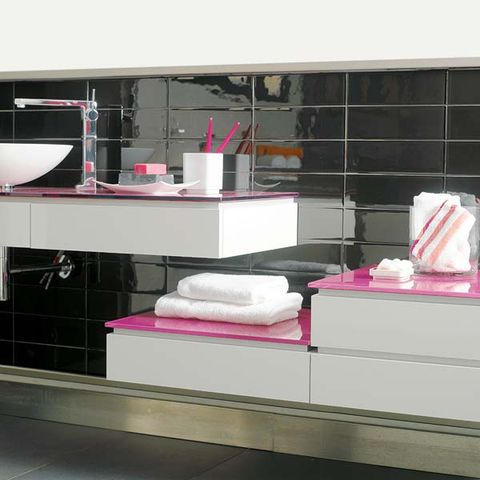 Room, Pink, Shelving, Tile, Towel, Display case, Shelf, Household supply,