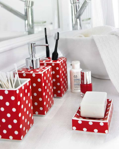 Red, Pattern, Household supply, Present, Rectangle, Party supply, Polka dot, Home accessories, Gift wrapping, Cosmetics,