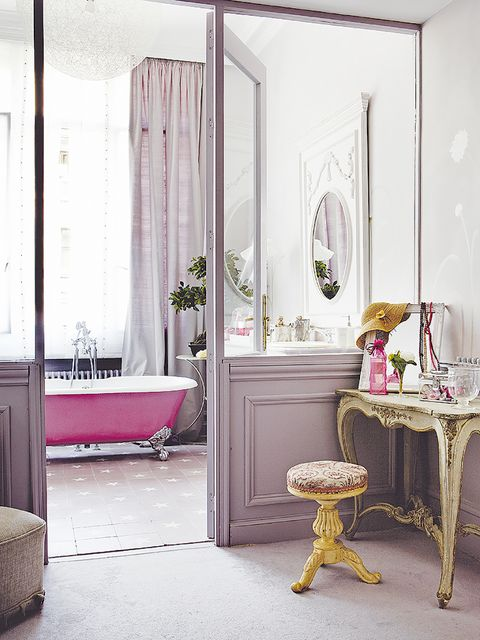 Room, Furniture, Interior design, Pink, Floor, Curtain, Yellow, Table, Building, Material property,