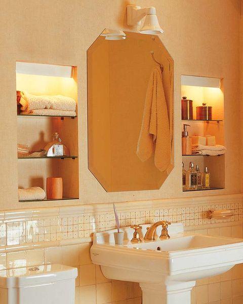 Property, Room, Plumbing fixture, Bathroom sink, Wall, Interior design, Orange, Amber, Sink, Tile,