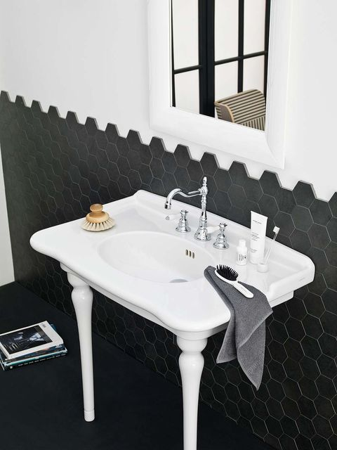 White, Table, Room, Furniture, Property, Bathroom sink, Sink, Interior design, Wall, Black-and-white,